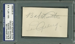 "Babe Ruth & Lou Gehrig Impressive Dual Signed 2"" x 2.5"" Album Page PSA/DNA NM-MT 8.5!"