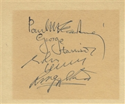 "The Beatles Group Signed 4"" x 5"" Album Page - Beckett/BAS MINT 9!"