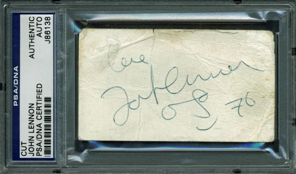 The Beatles: John Lennon Signed Business Card w/ Self-Portrait Sketch (PSA/DNA Encapsulated)