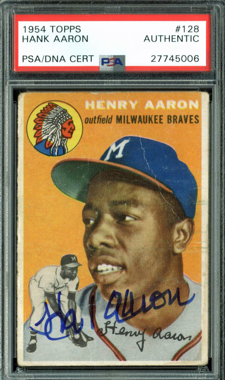 Lot Detail Hank Aaron Signed 1954 Topps 128 Rookie Card