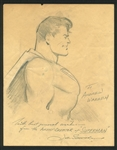 Superman: Joe Shuster RARE Hand-Drawn & Signed Superman Sketch (BAS/Beckett)