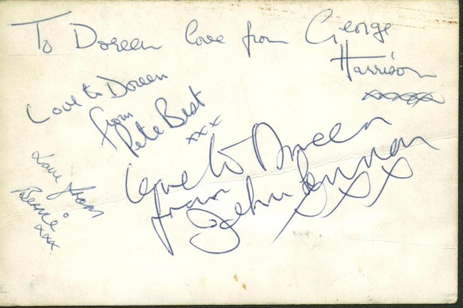 The Beatles: ULTRA-RARE c. 1961 Signed 3 x 5 Photo w/ Pete Best, John Lennon & George Harrison! (PSA/DNA)