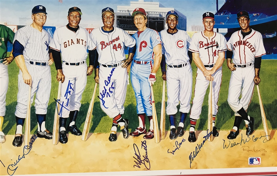 500 Home Run Club Signed & Framed Ron Lewis Art Poster (11 Sigs) w/Mantle, Williams, etc. (PSA/DNA)