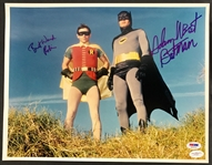 "Batman: Adam West & Burt Ward Signed 11""x14"" Color Photo with Character Names Inscribed! (PSA/DNA & JSA)"