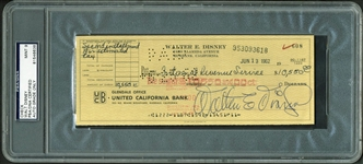 Walt Disney Incredible Signed 1962 Bank Check to the IRS - PSA/DNA Graded MINT 9!