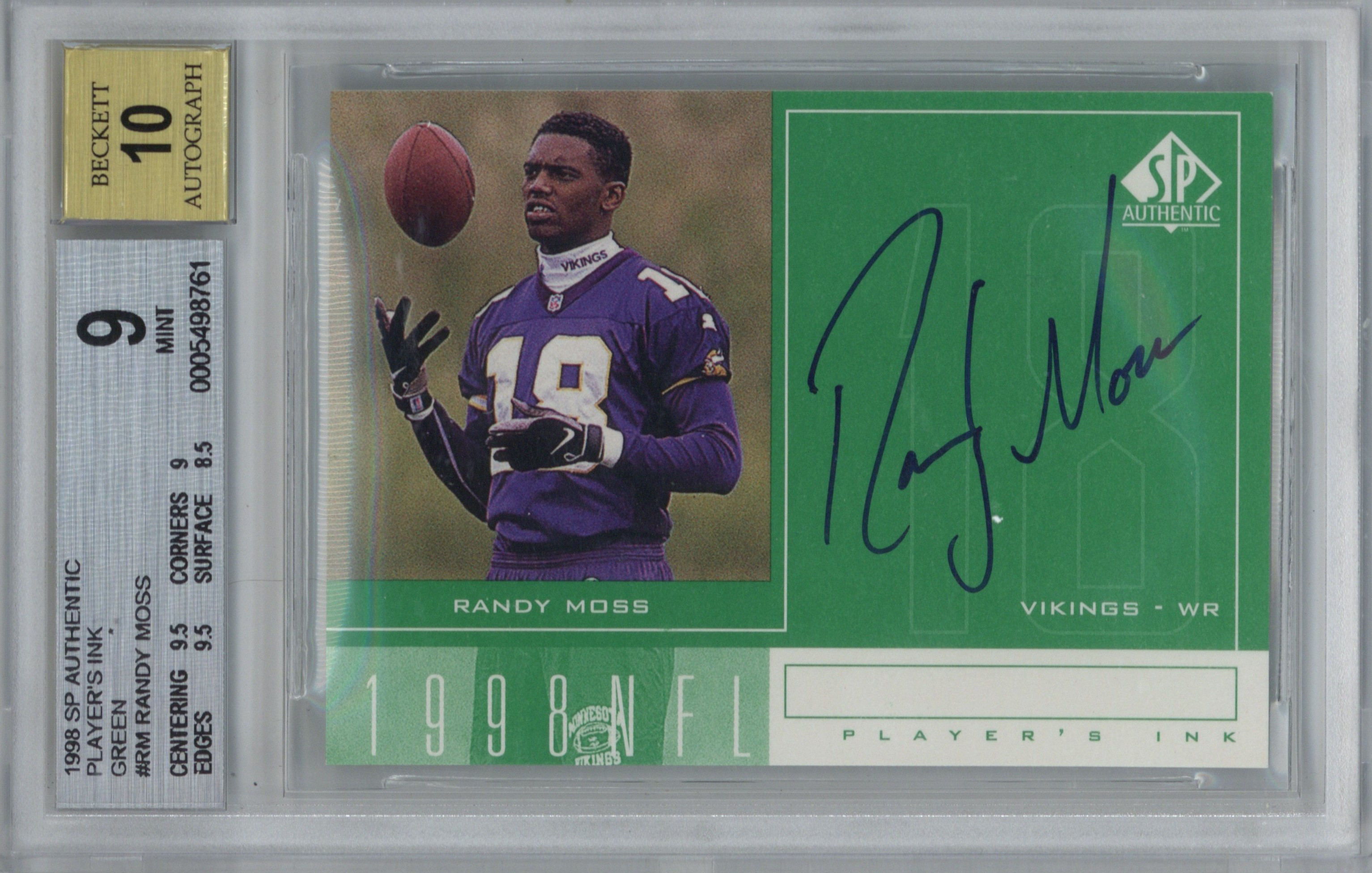 Lot Detail Randy Moss Signed 1998 Sp Authentic Players Ink