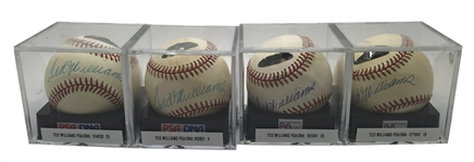 Lot of Four (4) Ted Williams Signed OAL Baseballs PSA/DNA Graded NM+ 7.5!