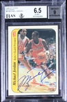 Michael Jordan Signed 1986 Fleer Sticker Rookie Card BGS Graded 6.5 w/9 Auto!