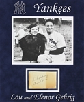 Lou & Eleanor Gehrig Dual-Signed Album Page in Custom Matted Display (JSA)