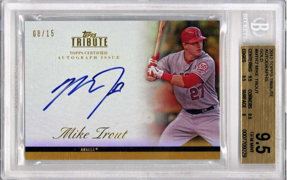 Lot Detail Mike Trout Signed 2012 Topps Tribute Gold Rookie Card