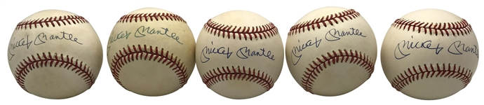 Mickey Mantle Lot of Ten (10) Signed OAL Baseballs (PSA/DNA)