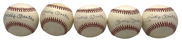 Mickey Mantle Lot of Five (5) Signed OAL Baseballs (JSA)