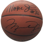 "Michael Jordan, Larry Bird & Magic Johnson Signed ""NBA Legends"" Spalding NBA Game Model Leather Basketball (UDA, PSA/DNA & Bird Holo)"
