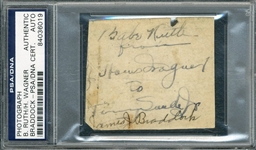 "Sports Greats of the 1920s: Babe Ruth, Honus Wagner & James Braddock Multi-Signed 2.25"" x 2.5"" Album Page (PSA/DNA Encapsulated)"