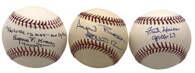 Lot of Three (3) NASA Single Signed Baseballs w/ Bean, Kranz & Haise (Beckett/BAS Guaranteed)