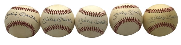 Mickey Mantle Lot of Five (5) Signed OAL Baseballs (Beckett/BAS Guaranteed)
