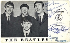 "The Beatles Desirable Group Signed 3.5"" x 6.5"" Parlophone Records Promotional Postcard (BAS/Beckett)"