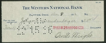 Orville Wright EARLY 1916 Signed Personal Winters National Bank Check (Beckett/BAS)