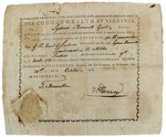 Governor Patrick Henry Signed Militia Appointment Document (BAS/Beckett)