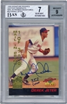 Derek Jeter Signed 1994 Signature Rookies Hottest Prospects #S4 BGS 7 w/ MINT 9 Auto!