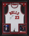 Michael Jordan Signed Chicago Bulls Jersey in Custom Framed Display (PSA/DNA)