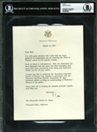 "President Ronald Reagan Signed 7"" x 9"" Typed 1991 Letter on Personal Letterhead (BAS/Beckett Graded MINT 9)"