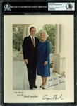"George H.W. & Barbara Bush Dual-Signed 8"" x 10"" White House Photo (BAS/Beckett Encapsulated)"