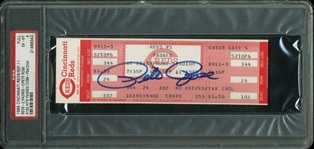 Pete Rose Signed Full Ticket for Record Breaking Hit Game (9/11/85)(PSA Graded EX-MT 6)