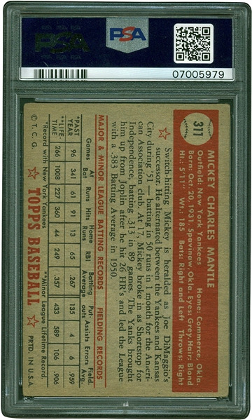 Mickey Mantle Superb 1952 Topps #311 Rookie Card - PSA VG-EX 4!