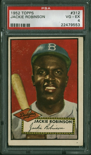 Jackie Robinson 1952 Topps #312 High Number Baseball Card PSA VG-EX 4!