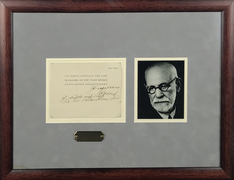 Sigmund Freud Signed & Hand Notated 6 x 5 Album Page in Frame (Beckett/BAS)