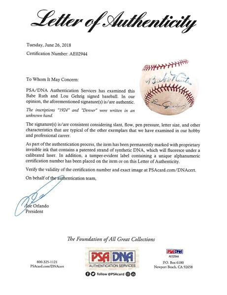 Babe Ruth & Lou Gehrig Exceptional Dual Signed Baseball (PSA/DNA)