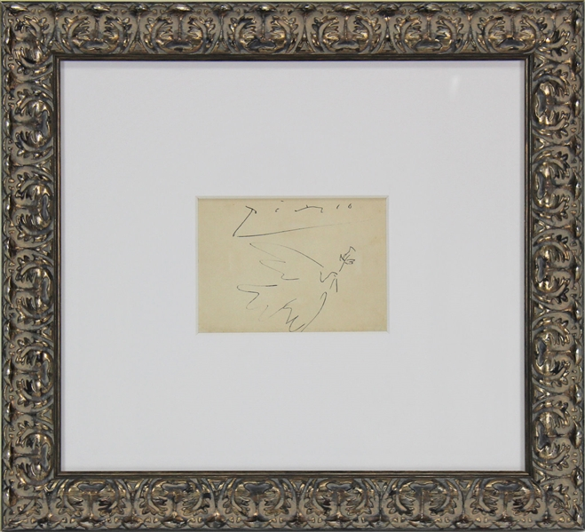 Pablo Picasso Incredible Signed Album Page w/ ULTRA-RARE Original Dove of Peace Artwork! (Beckett/BAS)