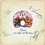 "Queen Group Signed ""A Night at the Opera"" Album Cover w/ Mercury, Taylor & Deacon (Beckett/BAS)"