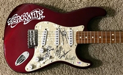 Aerosmith Group Signed Fender Squier Stratocaster Guitar (PSA/DNA)