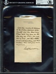 Benjamin Harrison Incredibly Rare Handwritten & Saigned Letter on Executive Mansion Letterhead (BAS/Beckett Encapsulated)
