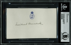 "Winston Churchill Signed 3"" x 5"" Album Page - BAS/Beckett Graded MINT 9!"