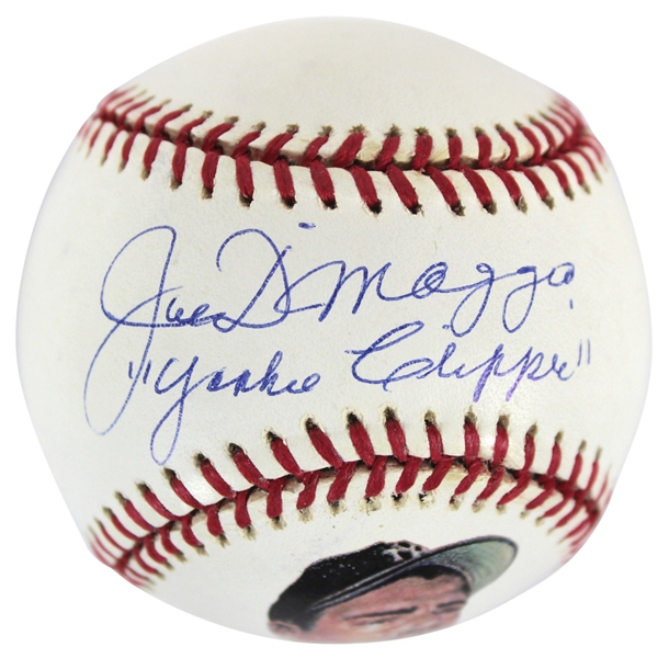 Joe DiMaggio Near-Mint Signed Hand Painted Baseball w/ Yankee Clipper Inscription (PSA/DNA)