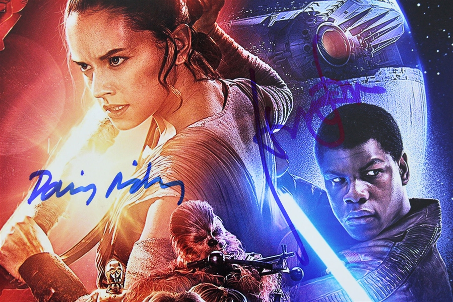The Force Awakens: Harrison Ford & Daisy Ridley Dual-Signed 12 x 18 Poster Photo (PSA/DNA & Beckett/BAS)