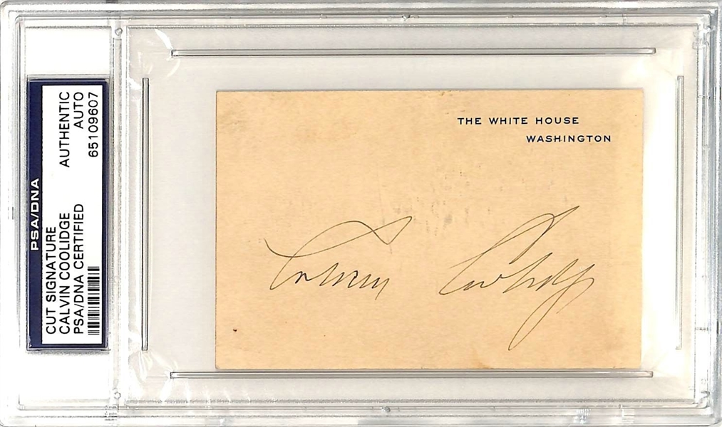 President Calvin Coolidge Signed 2.75 x 3.25 White House Card (PSA/DNA Encapsulated)