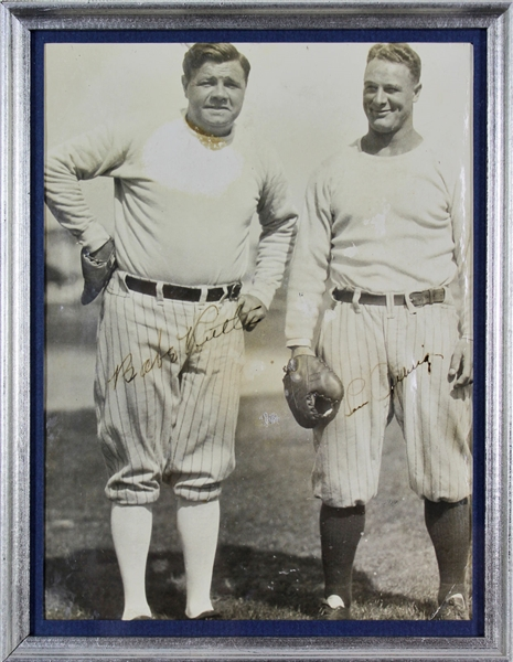 Yankee Icons: Babe Ruth & Lou Gehrig Stunning Dual-Signed 6 x 8 Framed Photograph w/ Desirable Uninscribed Signatures (PSA/DNA)