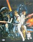 "Star Wars Cast Signed 11"" x 14"" Photograph w/ 7 Signatures (Beckett/BAS)"