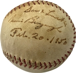 1927 Yankees Singles: Bennie Bengough Single Signed Official League Baseball (Beckett/BAS Guaranteed)