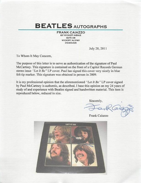 The Beatles: Paul McCartney Signed Let It Be Album - Caiazzo & PSA/DNA Graded GEM MINT 10