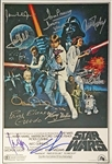 "Impressive Star Wars Cast Signed 12"" x 18"" 1977 Poster Print w/ Incredible 10 Signatures (BAS/Beckett Guaranteed)"