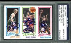 1980-81 Topps Magic Johnson, Larry Bird & Julius Erving Card - PSA Graded MINT+ 9.5!