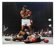 "Muhammad Ali Impressive Signed 20"" x 24"" Canvas Print feat. Historic Liston KO - PSA/DNA Graded GEM MINT 10!"