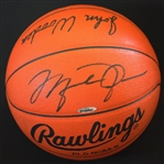 Michael Jordan & John Wooden Rare Dual Signed Rawlings NCAA Game Model Basketball (UDA & PSA/DNA Graded Mint+ 9.5)
