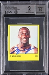 Michael Jordan Signed 1986-87 Panini Spanish Sticker Card Graded Beckett MINT 9 with GEM MINT 10 Autograph!