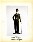 "Charlie Chaplin Superbly Signed 4.5"" x 5.5"" B&W Photograph As The Tramp! (Beckett/BAS)"